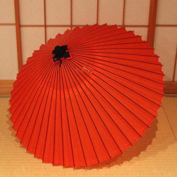 朱色 無地 和傘 蛇の目傘 Japanese umbrella