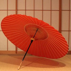 朱色 無地 和傘 蛇の目傘