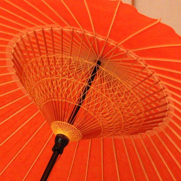 朱色 和傘 蛇の目傘 無地