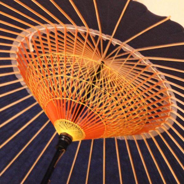 藍色 蛇の目傘 和傘