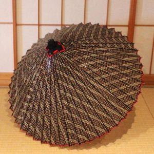 もよう和傘 グレー 縞 型染蛇の目傘 Japanese umbrella