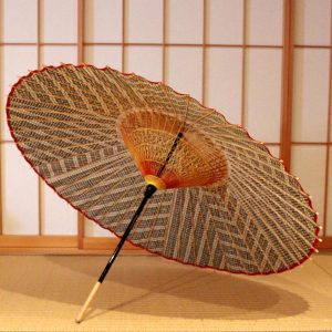 もよう和傘 蛇の目傘 グレー 型染