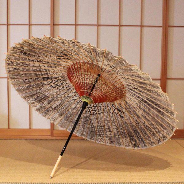 歌舞伎柄 蛇の目傘 市川海老蔵 黒 粋