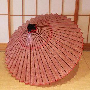 赤 縞 ストライプ もよう和傘 蛇の目傘 型染 japanese umbrella