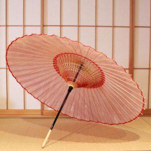 赤 縞模様 ストライプ もよう和傘 蛇の目傘