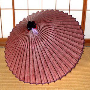 型染和紙の蛇の目傘 赤い縞模様が可憐な和傘 Japanese umbrella