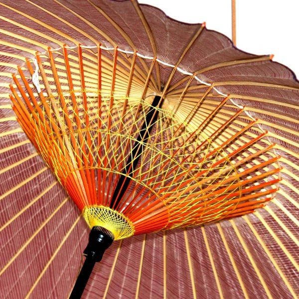 蛇の目傘の内側 アップ 2段の糸かがり 赤い縞模様 Japanese umbrella