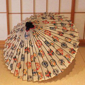 もよう和傘 白地 彩 花てまり 蛇の目傘 Japanese umbrella