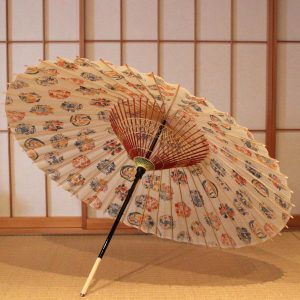 もよう和傘 白地 彩 花てまり 蛇の目傘