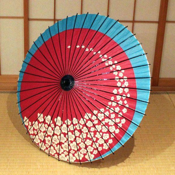 梅 赤 水色 和日傘 和傘 Japanese umbrella