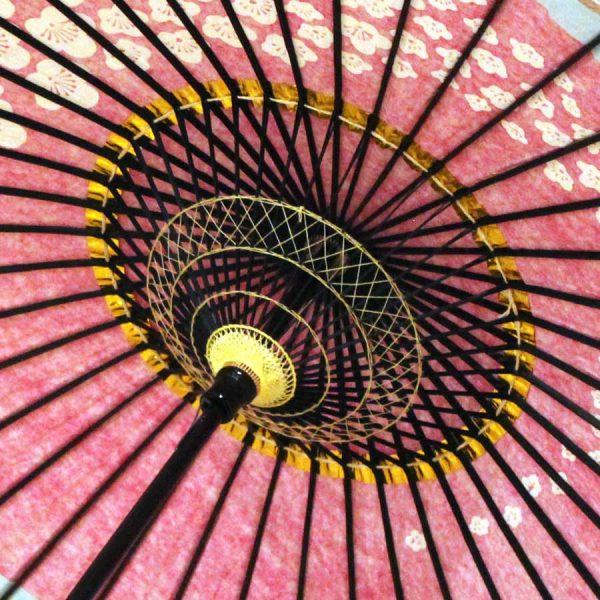 和日傘 内側 和傘 梅柄