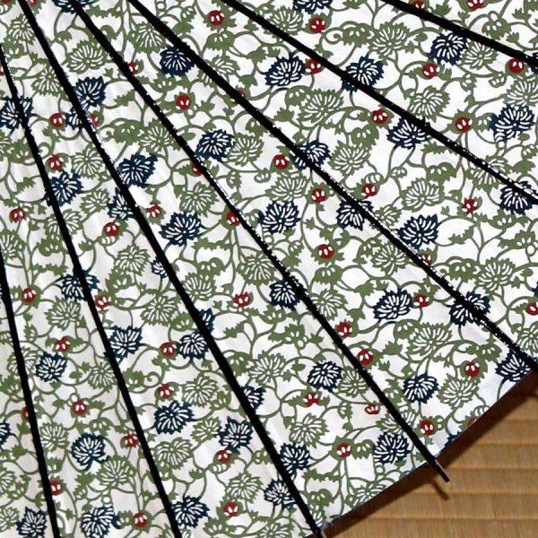 緑 蔦模様 型染め もよう和傘