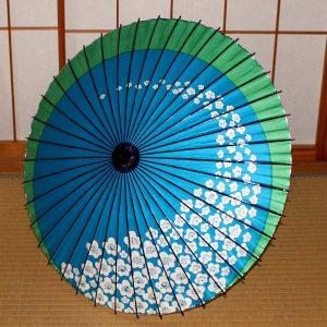 梅もよう 水色と緑の和日傘 Japanese umbrella