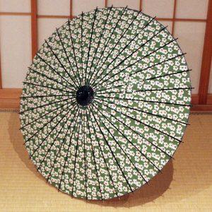 もよう和傘 緑色のもよう和日傘 Japanese umbrella