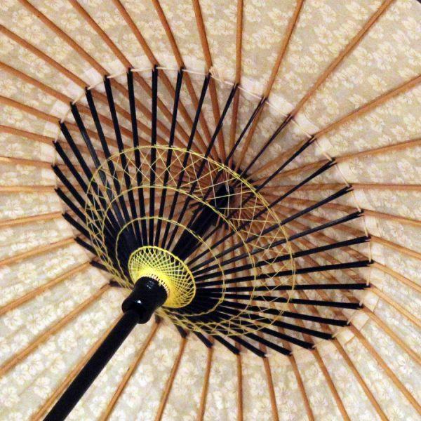 和日傘の内側 和傘の糸飾りが綺麗