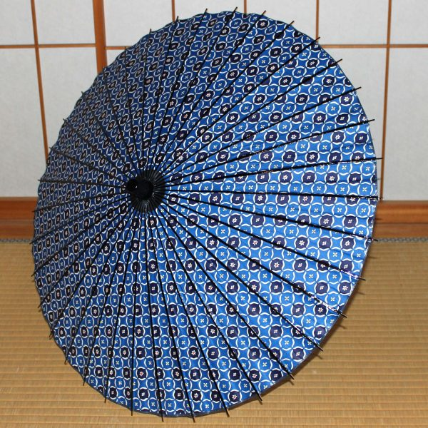 青 型染和紙 和日傘 Japanese paper parasol made in japan