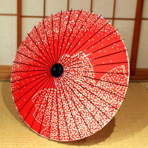 赤 桜もよう 和日傘 Japanese umbrella red Cherry blossoms