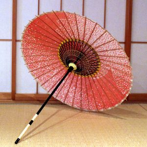 赤 桜もよう 和日傘 内側 弥生の桜