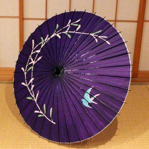 紫 和傘 ツバメ 柳 和日傘 日本製 Japanese umbrella  purple