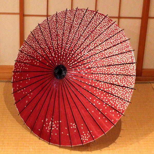 赤 桜ふぶき 和日傘 Japanese paper parasol red