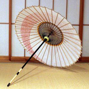 白 赤い桜のもよう 和日傘 もよう和傘