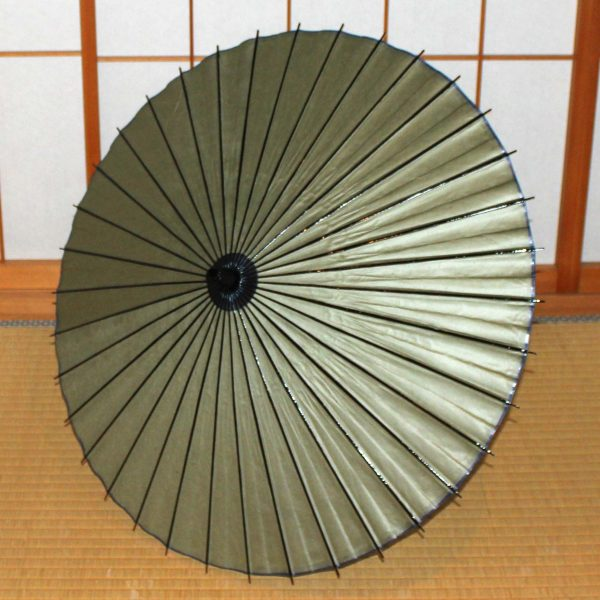 緑 無地の和日傘 deep green Japanese paper parasol