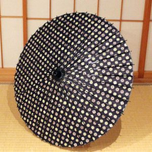 もよう和傘 型染め和紙 和日傘 紺 japanese paper parasol