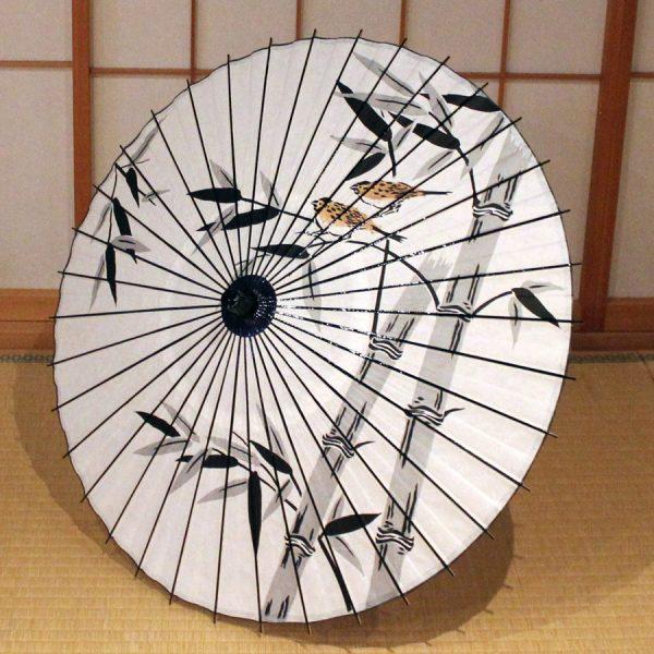 和日傘 海外の方に人気 もよう和傘 墨絵風の竹に雀 白 Japanese paper parasol