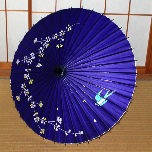 和傘 紫 ツバメと黄桜のもよう Japanese umbrella