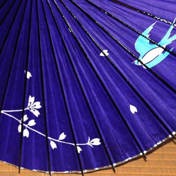 紫色の傘 ツバメと桜 和日傘