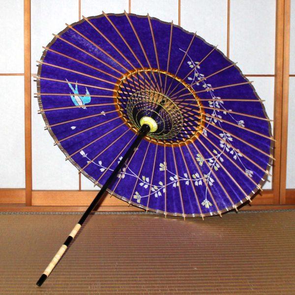 紫 ツバメと黄桜 日本製の和日傘 Japanese umbrella
