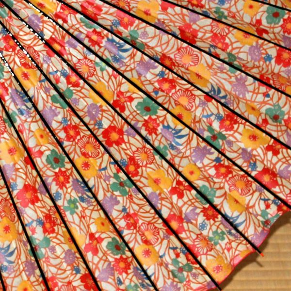 花もようの和傘 型染和紙 華やかな蛇の目傘
