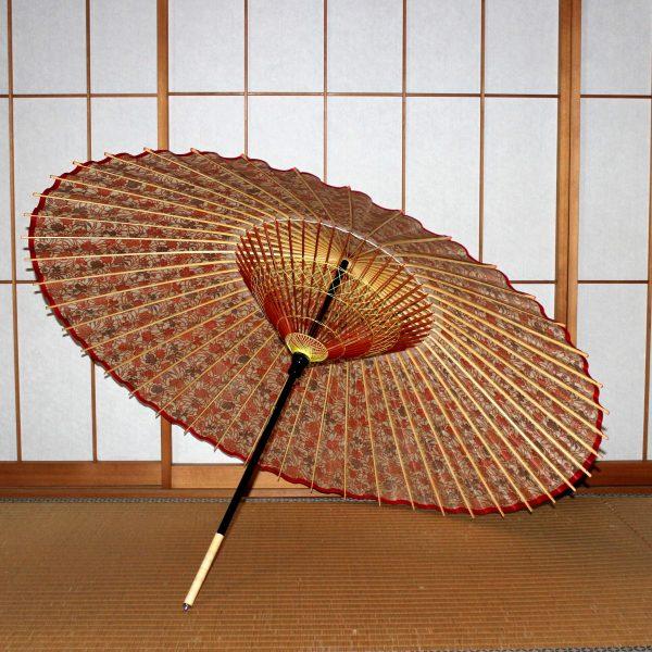 蛇の目傘の内側 花もよう和傘 赤