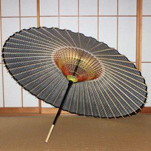青 もよう和傘 型染め蛇の目傘の内側