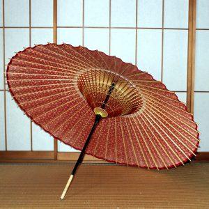 赤 もよう和傘 型染め 蛇の目傘の内側