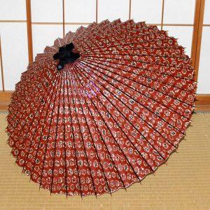 赤 もよう和傘 型染蛇の目傘  Japanese umbrella red