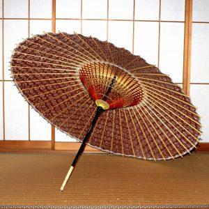 赤 蛇の目傘の内側 もよう和傘