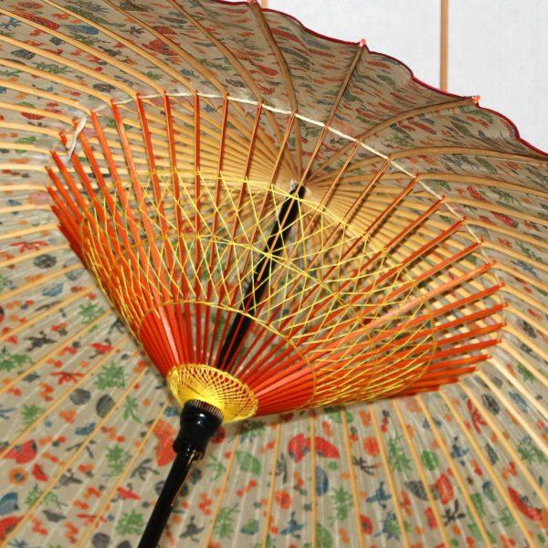 蛇の目傘の内側 糸かがり
