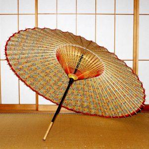 もよう和傘 型染蛇の目傘の内側