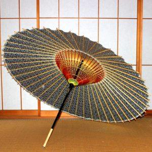 青 もよう和傘 型染蛇の目傘