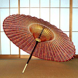 赤 もよう和傘 蛇の目傘の内側