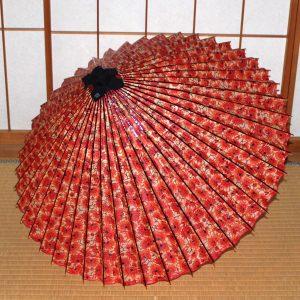 赤 花柄 牡丹 もよう和傘 型染蛇の目傘 Japanese umbrella