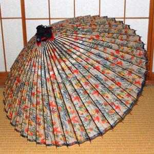 もよう和傘 紅型もよう 白地に彩り豊かな蛇の目傘 Japanese umbrella
