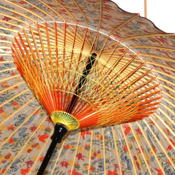 彩り豊かな蛇の目傘 和傘の内側の糸かがり