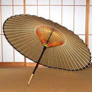 もよう和傘 薄茶色 型染蛇の目傘 和傘の内傘