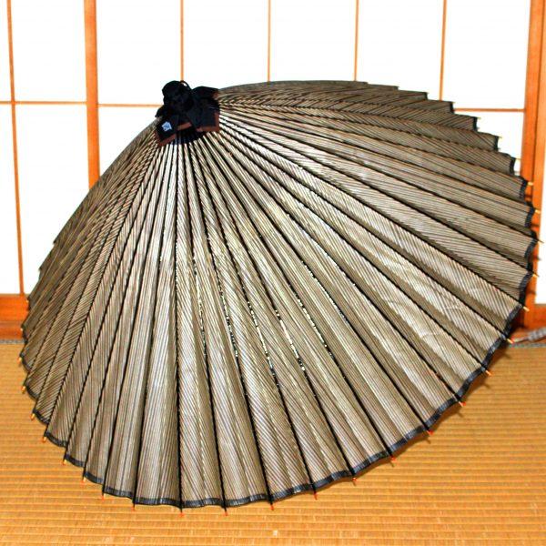 薄茶色 グレー 縞模様 もよう和傘 型染蛇の目傘 Japanese umbrella