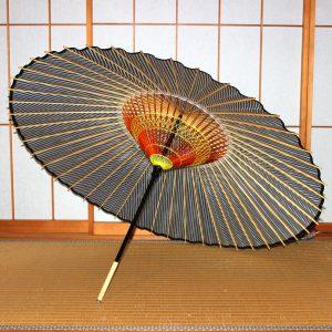 青 藍 縞模様 ストライプ 和傘 蛇の目傘