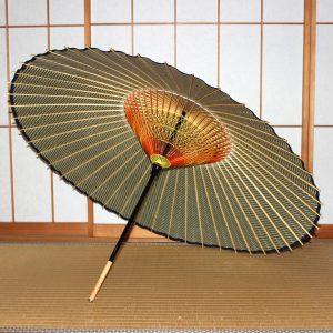 緑 縞模様 ストライプ もよう和傘 型染蛇の目傘