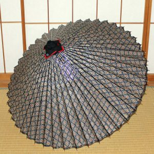 青 もよう和傘 型染蛇の目傘 Japanese umbrella