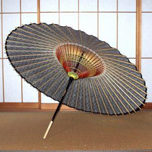 もよう和傘 蛇の目傘の内側 青 Japanese umbrella
